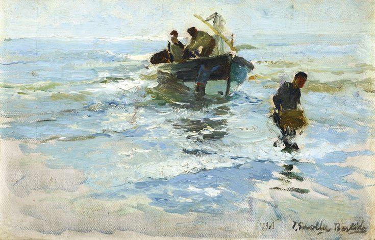 Joaquín Sorolla 1863 - 1923 SPANISH RECOGIENDO LA BARCA, PLAYA DE VALENCIA (THE…