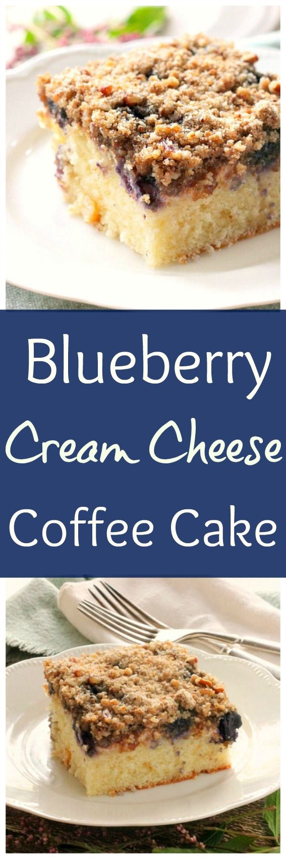 Blueberry Cream Cheese Coffee Cake... The cake layer on the bottom is sprinkled with blueberries and topped with a cream cheese filling and crumb topping.