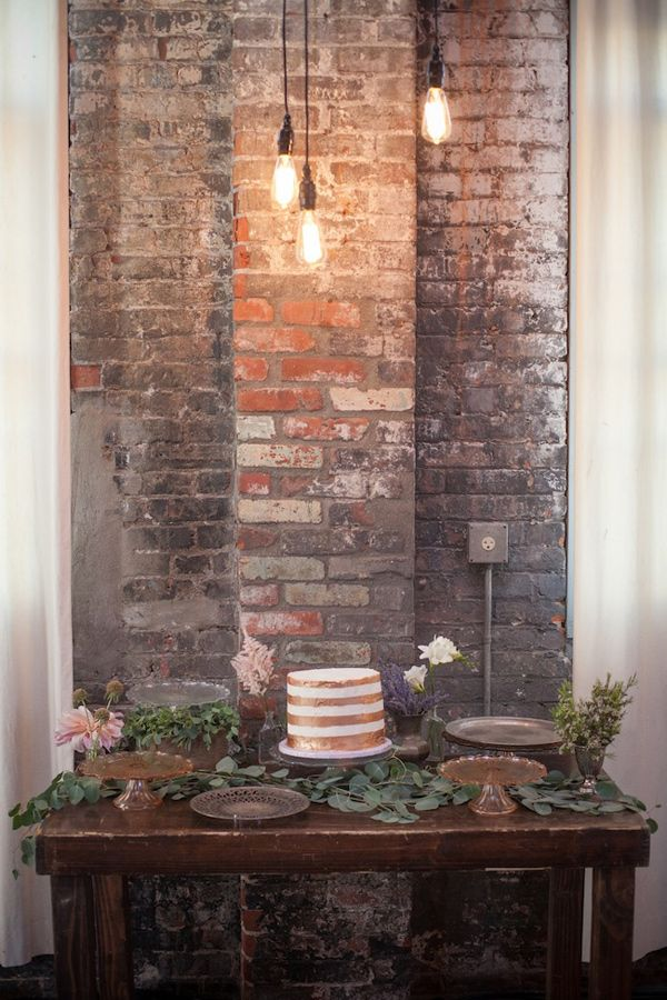 sweet + simple cake table setup, photo by Zaugh Photography, styling by Sweet Emilia Jane http://ruffledblog.com/huron-substation-wedding #caketables #desserttables #weddingcake