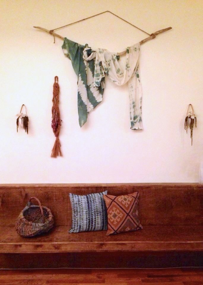 Massage Williamsburg Reception. Vintage macrame flower holder, Handmade Shibori Fabric from Brooklyn Curated, Pillows from Peopleof2Morrow