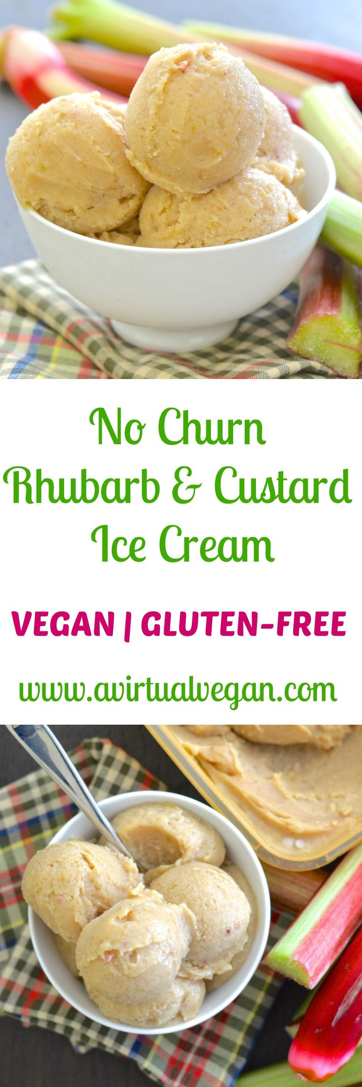 Classic British flavours combine in this really easy, no fuss, No Churn Rhubarb and Custard Ice Cream. It's incredibly easy to make & is secretly healthy! via @avirtualvegan