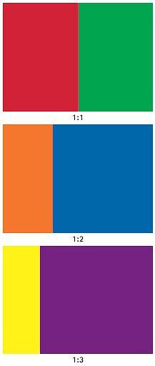 dit zijn voorbeelden van complementair contrast want ze staan tegen over elkaar in de kleuren cirkel