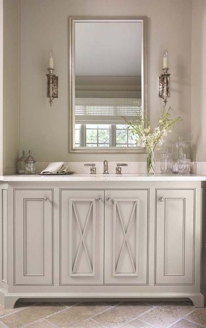 a perfect gray: sweet gray green bath cabinets and great door detail