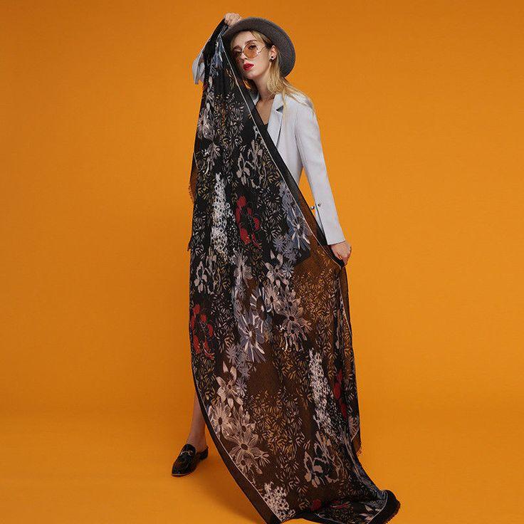 Women's Arrival Blanket Scarf Floral Printed Warm Long Pashmina Shawl Wraps