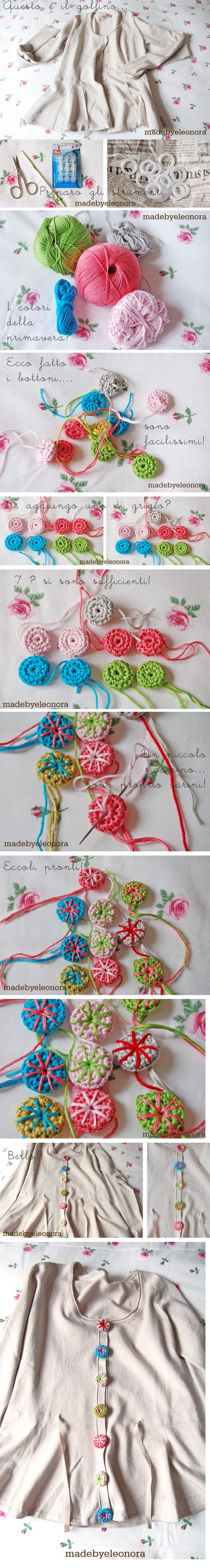 personal project: crochet bottons and  sweater becomes new!  http://madebyeleonora.blogspot.it