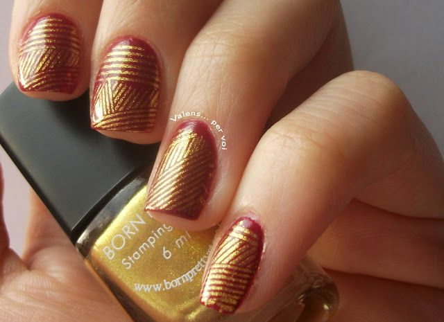 My #manicure: Burgundy and #golden #20's #nailart w/ @avonuk @avoninsider and @bornprettynails