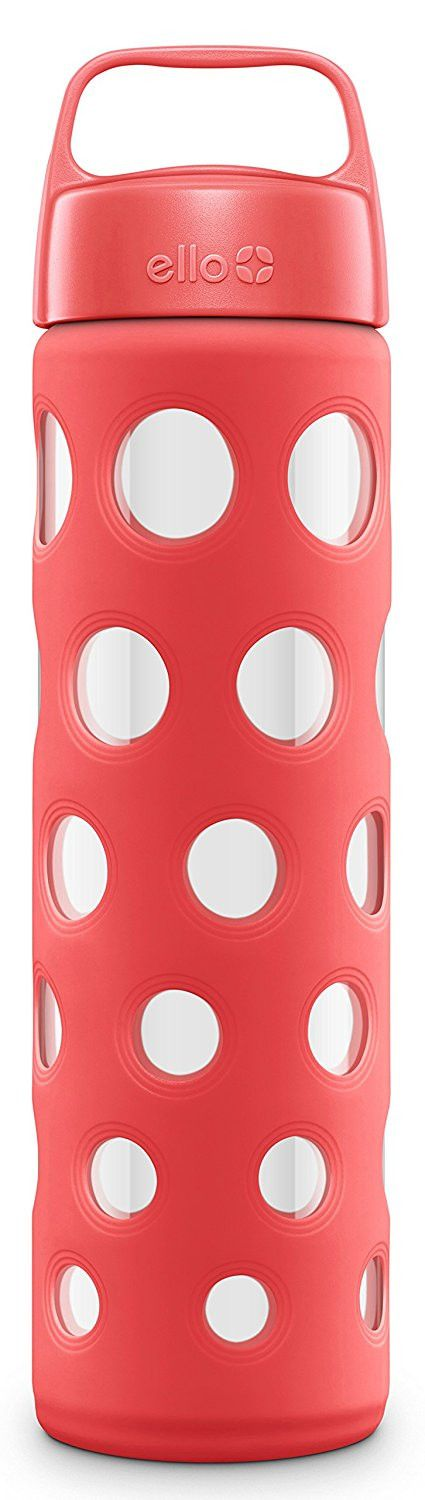 Ello Pure 20 Ounce BPA Free Glass Water Bottle with Lid, Coral Fizz