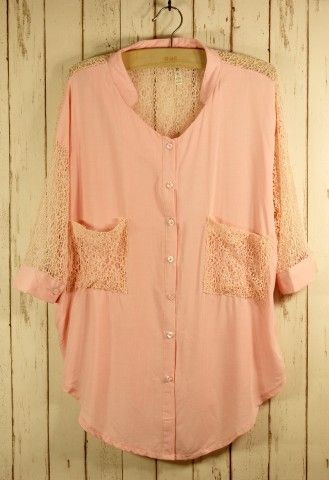 I would so wear this :): Lace Tops, Lace Blouses, Pink Lace, Color, Lace Sleeve, Pale Pink, Lace Forward, Forward Shirts, Lace Shirts
