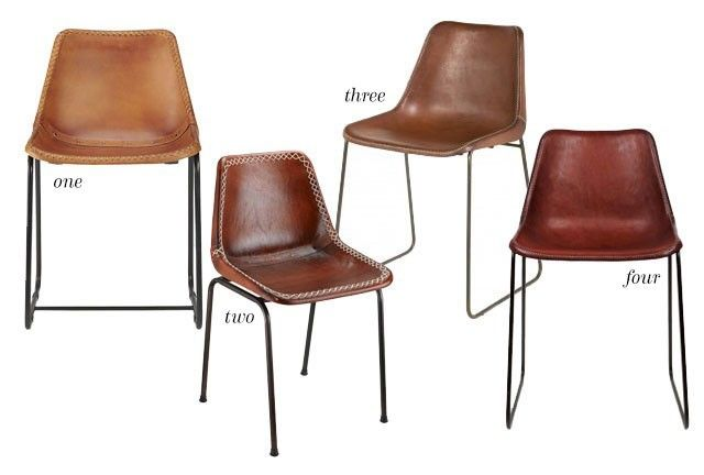 Four Leather Dining Chairs
