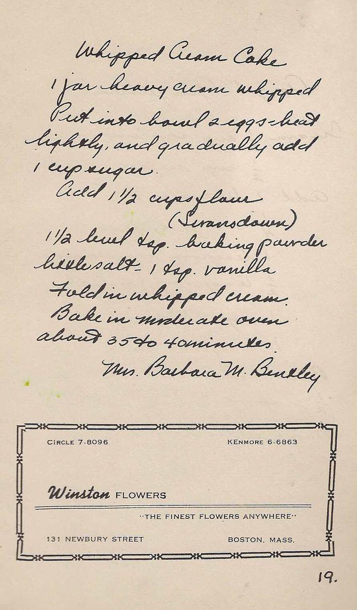 Old New England Recipes: Old Recipe Whipped Cream Cake Boston, MA