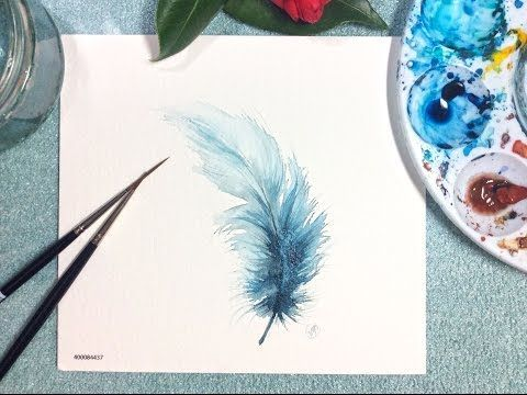Watercolor Blue Feather Real Time Painting Demonst…