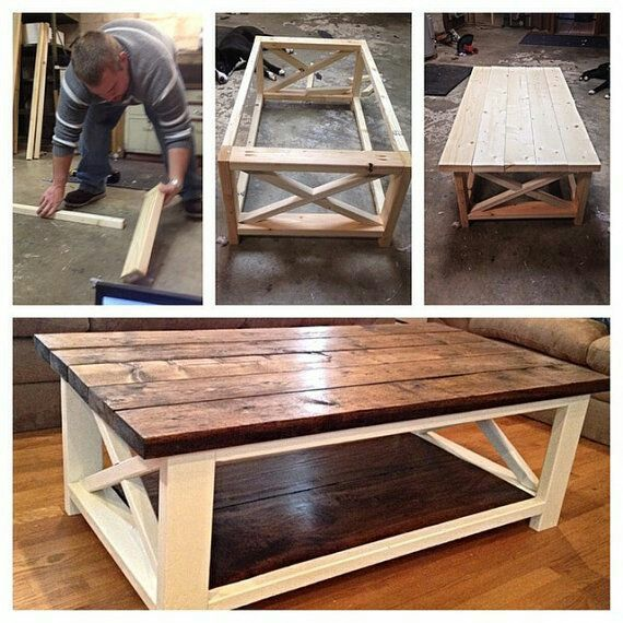 Two Toned DIY Farmhouse Coffee Table
