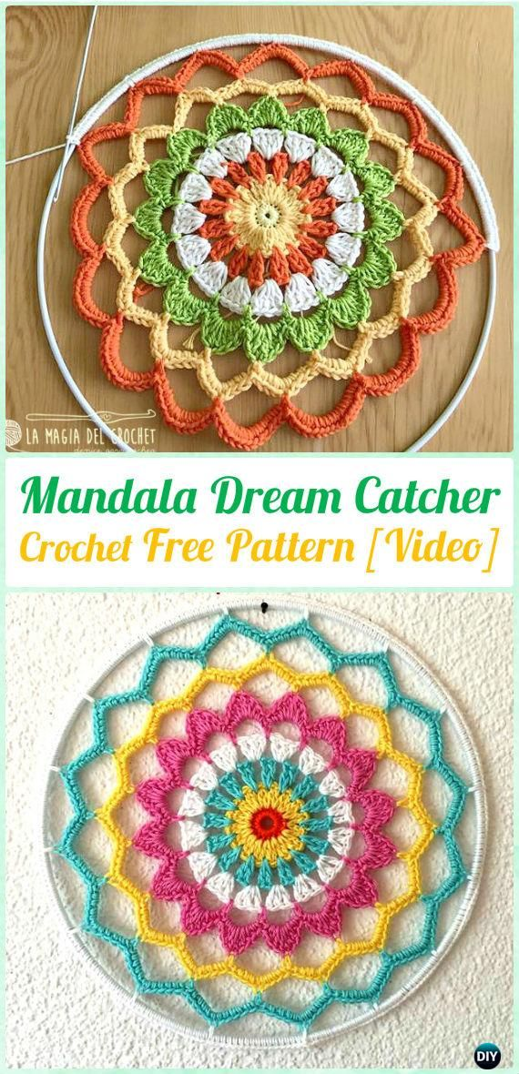 Crochet Mandala DreamCatcher Free Patterns - #Crochet Dream Catcher Free Patterns