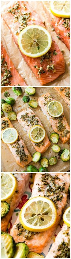 Only 330 calories in under 30 minutes! Easy lemon herb salmon dinner recipe.
