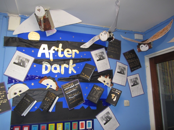Our light and dark topic. We used 'Owl Babies' and 'Can't you sleep little bear.' We made owls and strung them from the ceiling so it looked like a flock of owls flying around. We even had a visitor bring owls into the school hall.