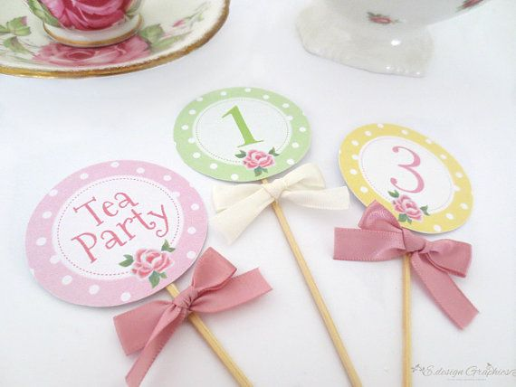 Printable Tea Party Cupcake Toppers Polka Dot