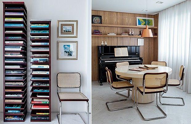 Coleção: os livros de arte e decoração da moradora ficam organizados nas estantes verticais da Etel (Foto: Lufe Gomes)