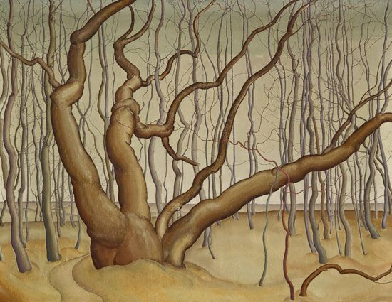 Lionel LeMoine Fitzgerald, Canadian, 1890-1956, Poplar Woods, 1929. Oil on canvas, 71.8 cm x 91.5 cm  Winnipeg Art Gallery, Winnipeg. Acquired in memory of Mr. and Mrs. Arnold O. Brigden, G-75-66. 100 Masters: Only in Canada, at the @Vicki Kerfoot Art Gallery May 11 - Aug 18, 2013.