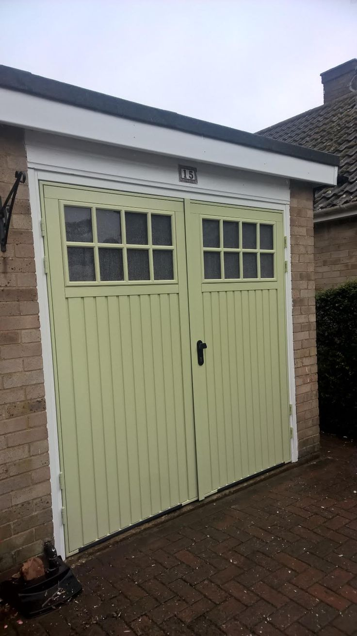 Willow Green Bedford Side Hinged Garage Door installed in Oxfordshire