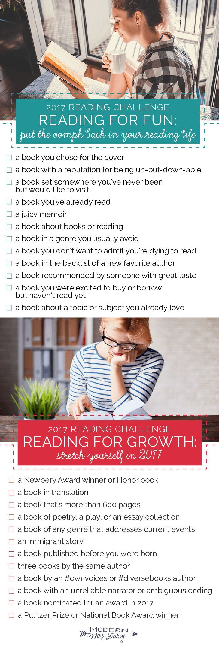 The 2017 Reading Challenge -- Click through to download the printables to help you plan!