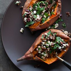 Baked Sweet Potatoes Stuffed with Feta, Olives and Sundried Tomatoes