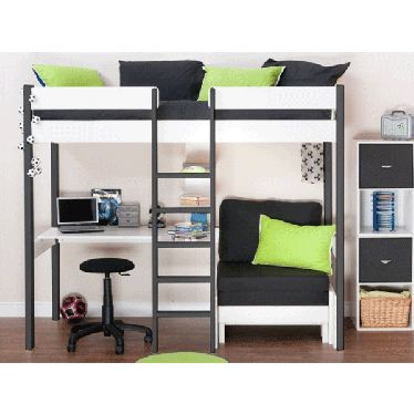 Stompa uno 6 nero white highsleeper with desk and for High sleeper beds for small rooms