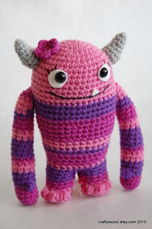 Lovey the crochet monster was born on Valentine's Day. She knew she was a little different but she decided to embrace her monstrous good looks.