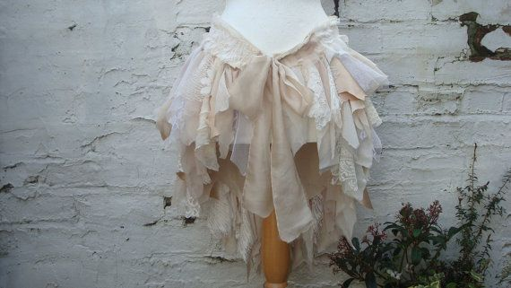 Upcycled Bustle Skirt Beige Champage Ivory Cream White  Mori Girl Tattered Woman's Clothing Lace Tribal Cotton Lace Hand Dyed Layers