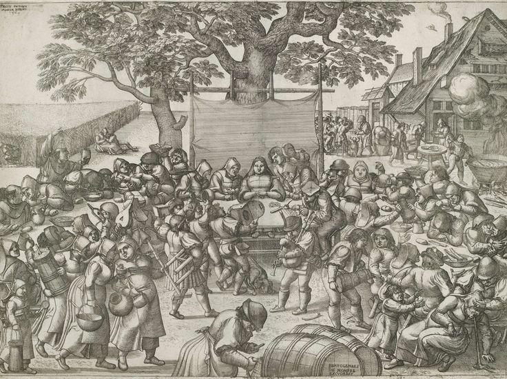 Pieter van der Borcht (I) | Boerenbruiloft, Pieter van der Borcht (I), Bartholomaus de Momper (I), 1560 | Een boerenbruiloft. Centraal in de prent is de bruid, die geschenken krijgt van aankomende gasten. Een notaris rechts van haar legt alle giften op papier vast. Aan de tafels wordt vrolijk gegeten en gedronken door het boerengezelschap. Een doedelzakspeler zorgt voor muziek. Op de rechterachtergrond van de prent wordt voedsel bereid voor het bruiloftsfeest, maar er wordt ook voedsel…