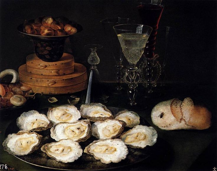 Osias Beert the Elder (c.1580-1624) — Still Life with Oysters, Bbread, Sweets and Wine Glasses : Museo Nacional del Prado, Madrid. Spain (972×770)