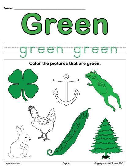 free color green worksheet worksheets activities. Black Bedroom Furniture Sets. Home Design Ideas