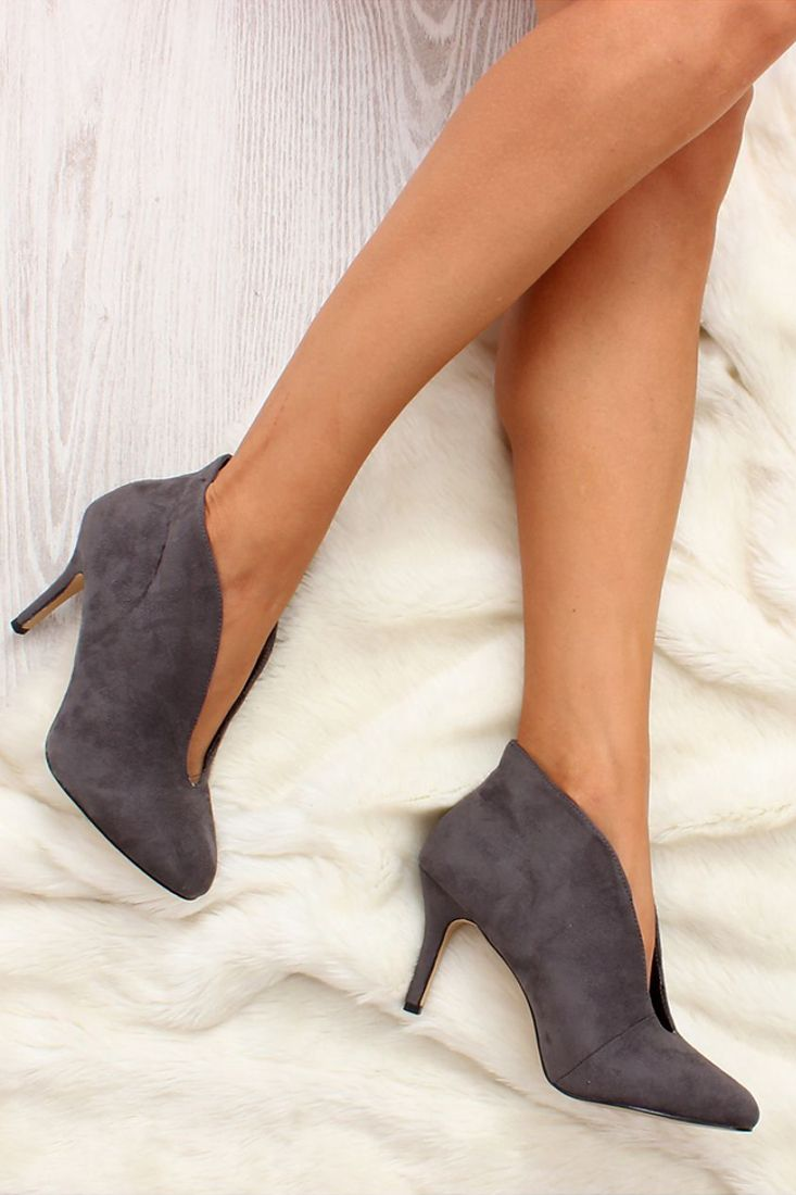 Grey Slit Pointy Ankle Boots - Buy Grey Ankle Boots.
