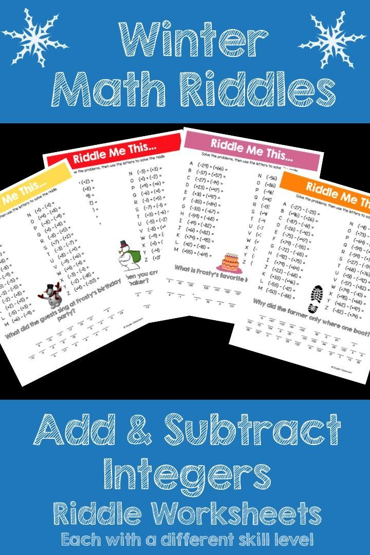 Make adding and subtracting integers FUN this Winter! This activity is full of computation practice. The students also have a goal of solving a riddle at the end. It is a great way to combine fun and learning! The Pack includes 4 different +/- integer riddle worksheets at varying levels.