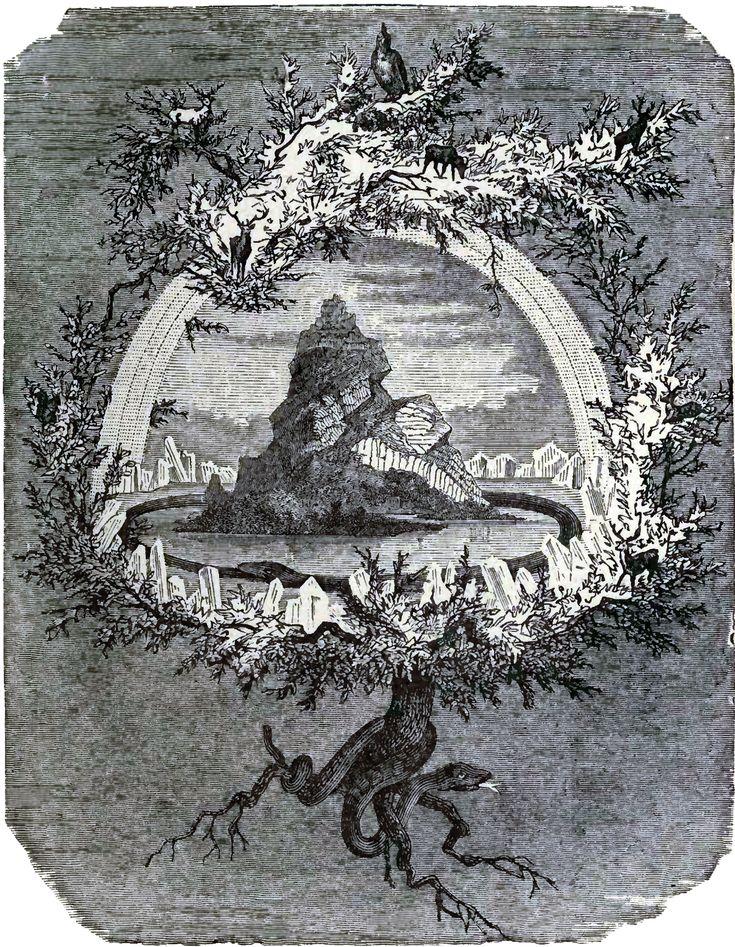 The Ash Yggdrasil (Le Frêne Yggdrasil) Friedrich Wilhelm Heine (1845-1921) Publié dans : Wägner, Wilhelm (1886). Asgard and the gods. London: Swan Sonnenschein, Le Bas & Lowrey. Page 27.