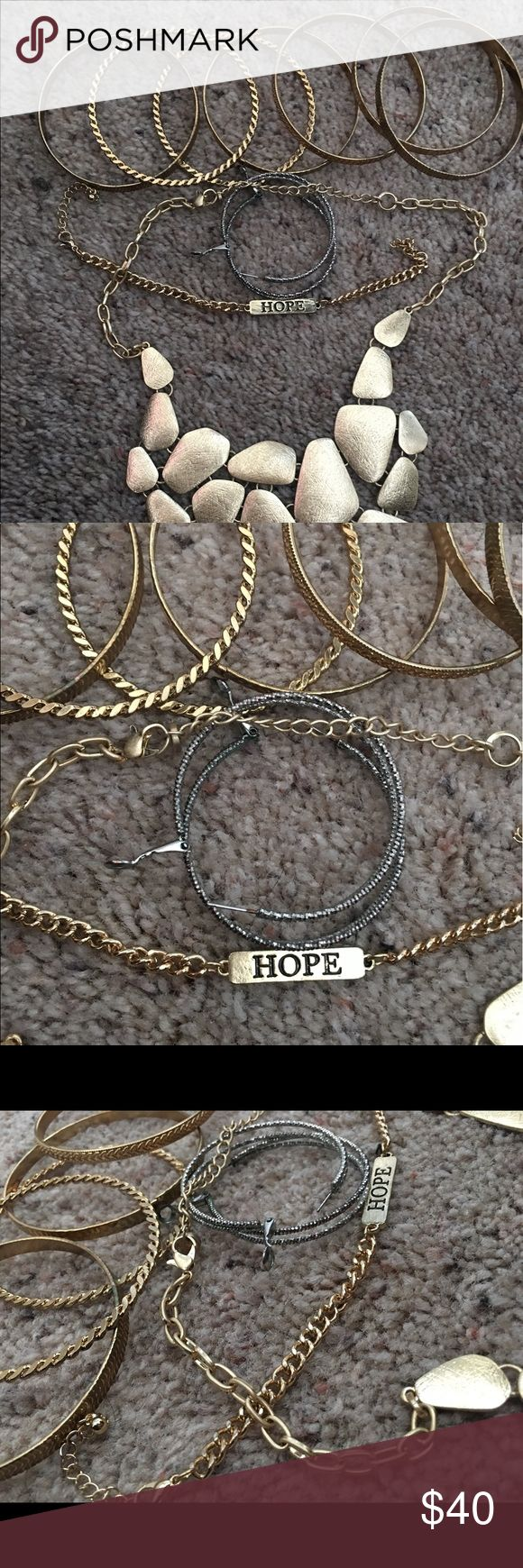 Jewelry set Bangle bracelet set, silver hoop earring, hope bracelet, chunky gold necklace Accessories