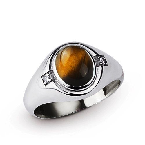 Tiger eye Ring Mens, Men's Diamond Ring, Men's Turquoise Ring In Sterling Silver with Genuine Diamonds, Mens Ring Silver 6 to 15 sizes
