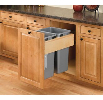 View the Rev-A-Shelf 4WCTM-RM-2150DM-2 4WCTM Top Mount Double Bin Trash Can with Soft Close Slides and Storage Bin - 50 Quart Capacity per Bin at Build.com.