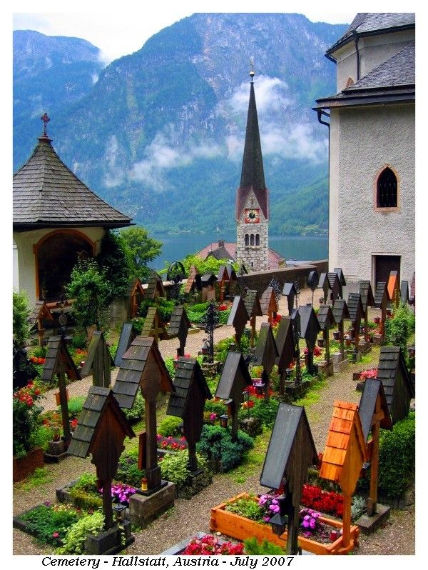 Hallstatt Cemetery, Hallstatt, Austria. A UNESCO World Heritage Site, this tiny picturesque Austrian town is known for its production of salt and for having the world's first known salt mine