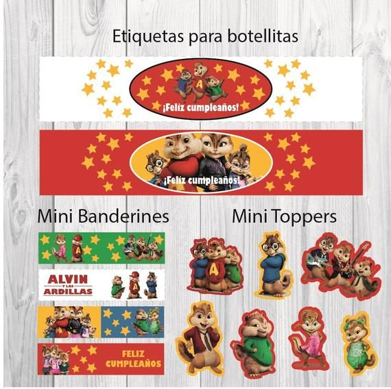 Kit De Fiesta Imprimible Alvin Y Las Ardillas Etsy Kit De Fiesta Ardillas Alvin Y Las Ardillas 3