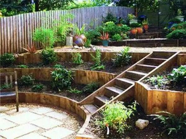 Beautiful sloped and tiered garden.