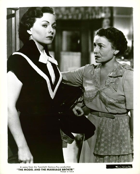 """Jeanne Crain, Thelma Ritter in """"The Model and the Marriage Broker"""" (1951).  Director: George Cukor."""