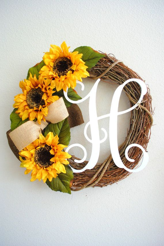 Sunflower Monogram Grapevine Wreath with by WreathDreams on Etsy, $57.00