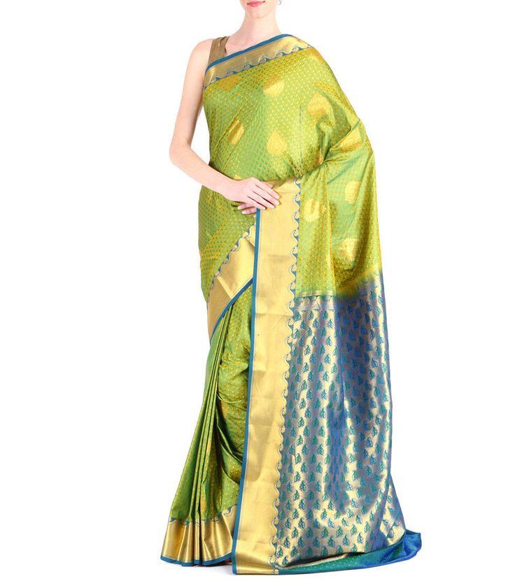 Green & Blue #Kanjivaram #SilkSaree With Zari Work #Indianroots #flipkart