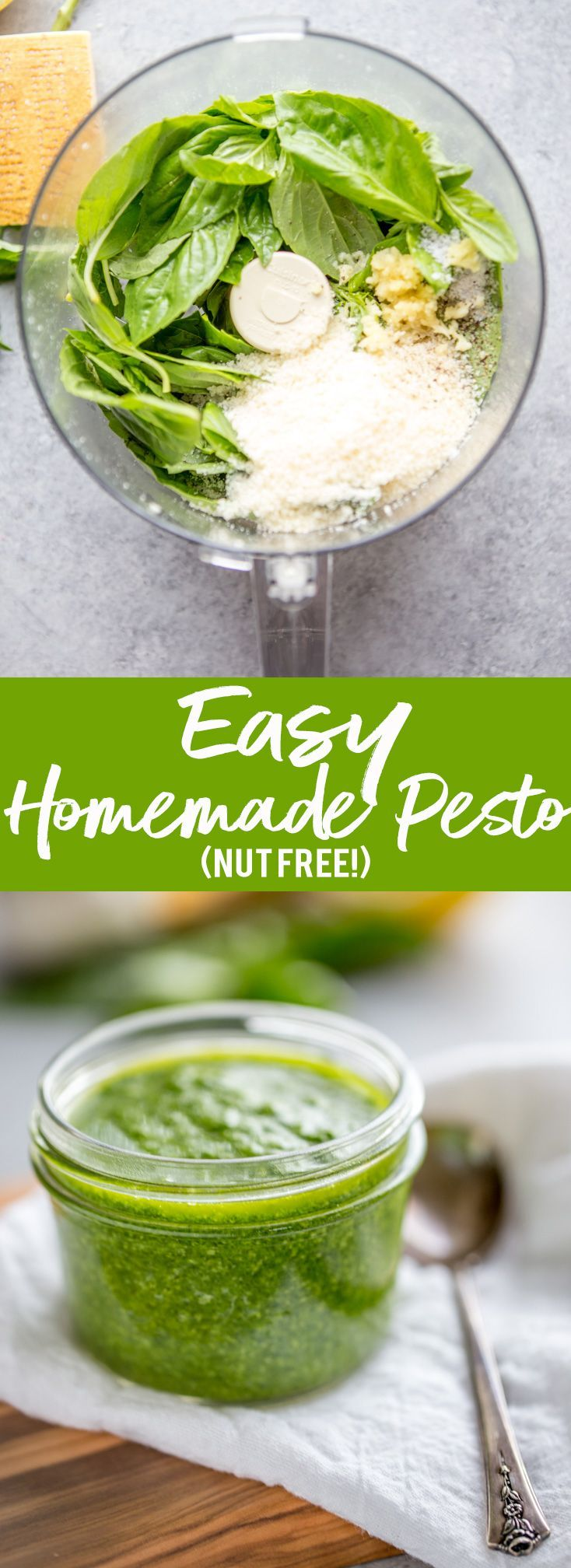 This easy Homemade Pesto is also nut free!  It only takes 5 minutes and tastes amazing. Freshly made pesto is like summer in a jar!