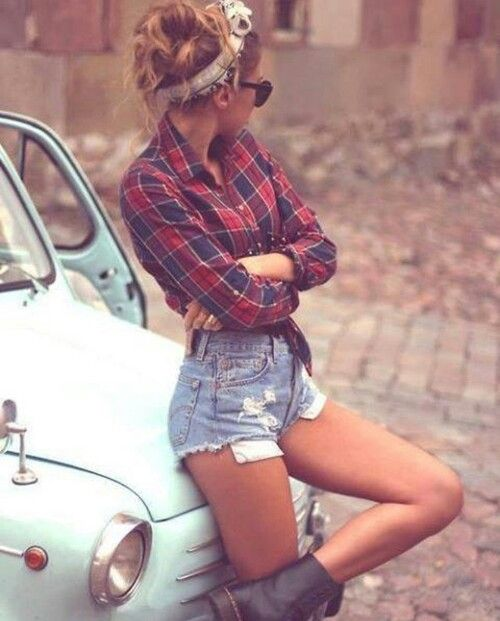 [ girl / fashion / hair / blonde / outfit / clothes / legs / flannelette / hipster / retro / car / tumblr ]