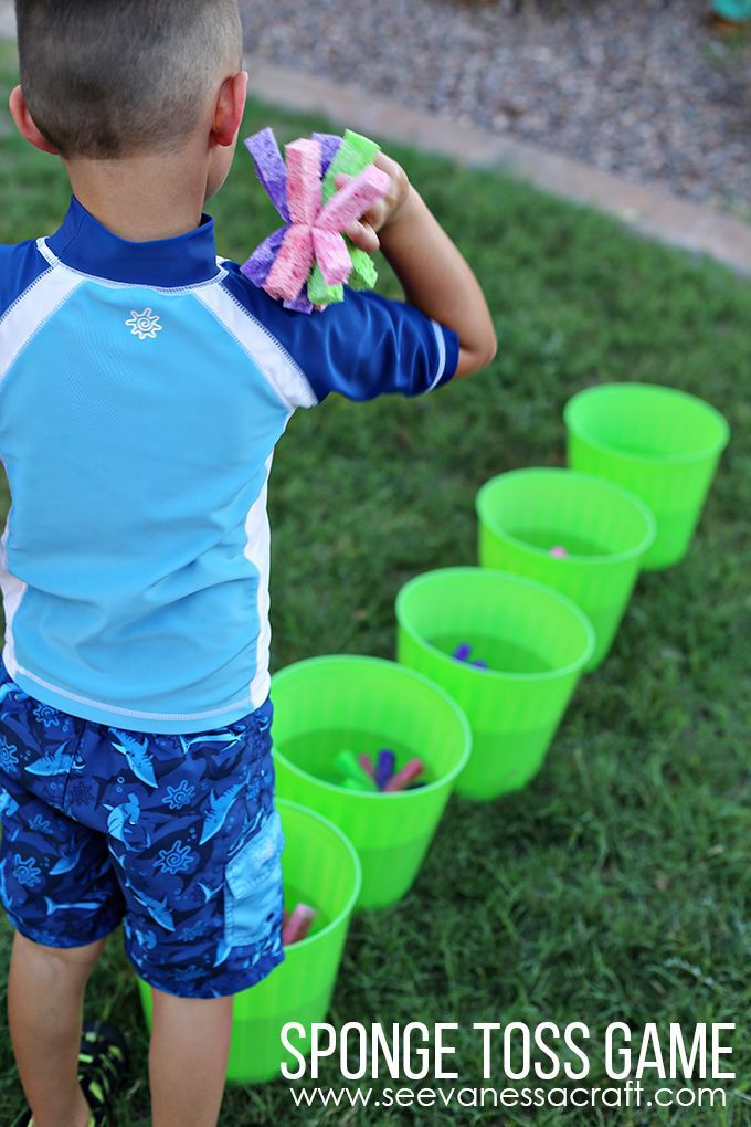 Craft: Summer Sponge Toss Water Game | Summer preschool ...