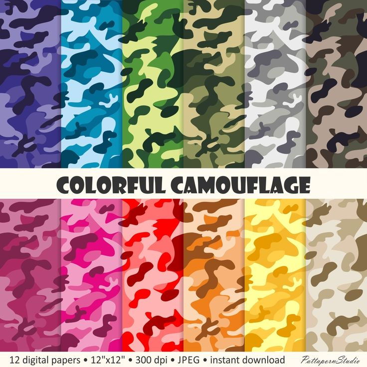 Digital Paper Colorful Camouflage, camo patterns army & military background JPEG