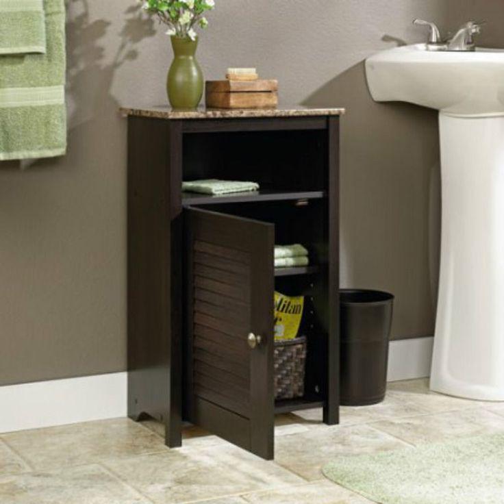Bath Floor Cabinet Storage Bathroom Organizer Shelf Wood Decor Cinnamon Cherry  #Sauder