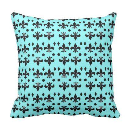 Black and Teal Anchor Nautical Throw Pillow - decor diy cyo customize home