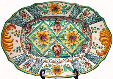 Hand-painted ceramic oval plate from Spain